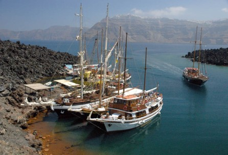 Tourist Boats, Santorini, Greece, taken in 2004 by Spencer Young