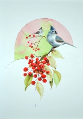 Birds 'n Berries watercolor on paper Dian D. Phillips
