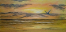 Judith Lynn Smith oil painting Seagull at Sunset