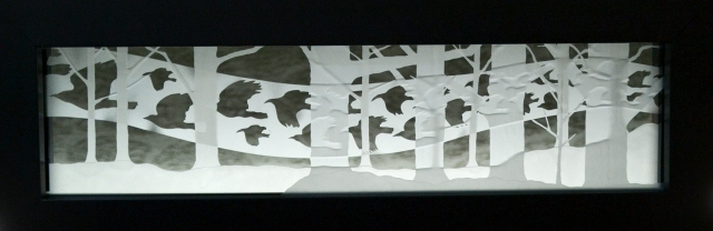 Crow Flow, etched glass by Todd Stokes