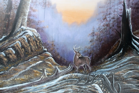 The Predawn Snowfall, acrylic on Masonite by Monty Jones