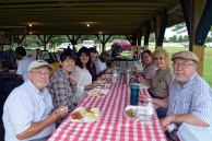 Lunch before Art in the Park: (clockwise from bottom left) John David Hemminghouse, Jeanne Rewa, Pria Rahmouni, Judith Lynn Smith, Todd Stokes, Gloria Schopper, Willa Barksdale and Thomas Makosky