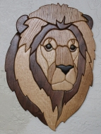 "Intarsia art titled ""Lion"" by Rod Funk"