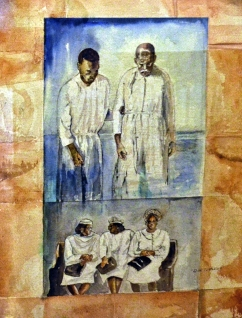 Baptism in the Wabash, a watercolor by Don Turner of Terre Haute