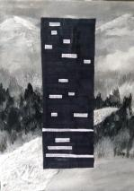 """""""Deside----"""" by Elise Spaid-Roberts, blackout poetry and acrylic on canvas"""