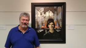 Steve Harrold with She Confessed in Swope Art Museum